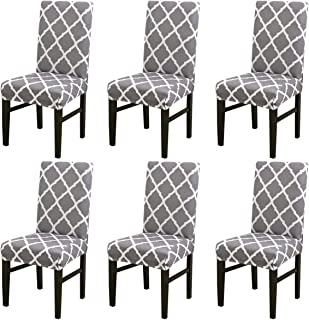 MIFXIN Chair Cover Set High Back Chair Protective Cover Slipcover Universal Stretch Elastic Chair Protector Seat Covers for Dining Room Wedding Banquet Party Decoration (Gray+White, 6 Pcs)