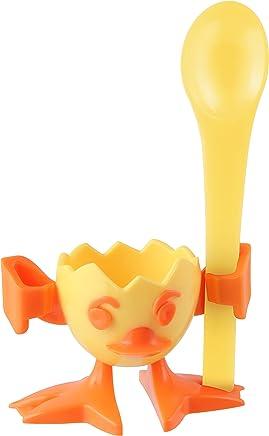 Preisvergleich für FACKELMANN Kindereierbecher mit Löffel Chicky, Eierbecher und Eierlöffel aus Kunststoff, Lustiger Hühnchen-Eibecher (Farbe: Gelb/Orange), Menge: 1 Stück