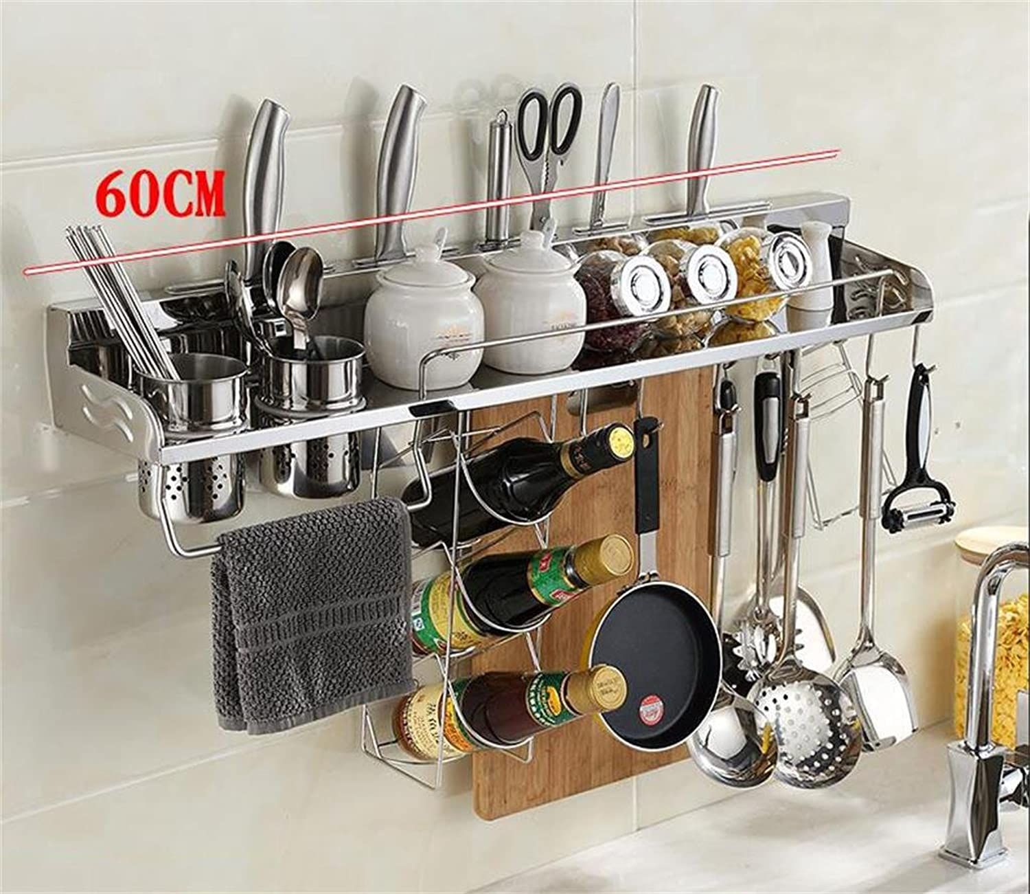 BJLWT Stainless Steel Kitchen Shelving Wall Spice Rack Storage Rack Knife Block Kitchen Shelf Organizer Goods Racks (Size   60CM)