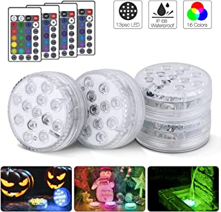Submersible Led Lights,13 LED Submersible Lights Remote Controlled RGB Changing Underwater Waterproof Lights for Pond Pool Fountain Aquarium Vase Hot Tub Bathtub Party and Home Decoration 4 Pack