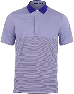 Polo Ralph Lauren Men`s Lightweight Stripe Airflow Tennis Top Pure White and City Royal ()