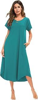 YOZLY Nightshirt Women Soft Caftan Loungewear Cotton Lounge House Dress Long Nightgown