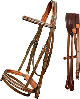 ExionPro Soft Lined Bling Crown Piece Two Row Bling Browband & Snaffle Noseband with Umbrella Design Detachable Flash & Rubber Reins.   English Horse Tack   English Bridles For Horses - Bridle & Reins