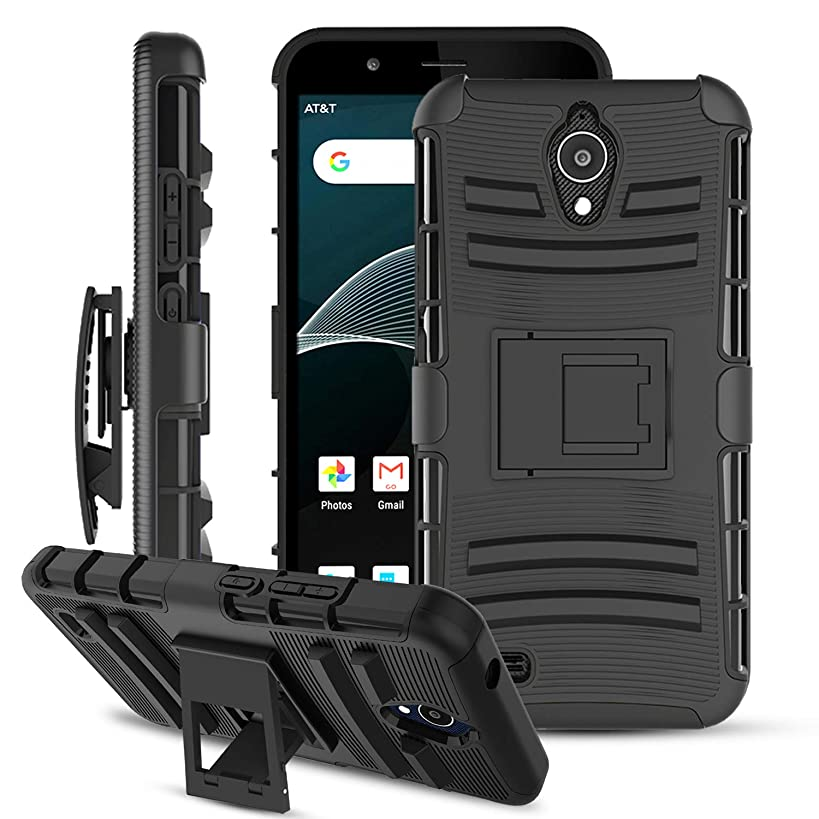 AT&T AXIA Case with Built-in Kickstand & Swivel Belt Clip[Heavy Duty Full-Body Protection] Hybrid Dual Layer Shockproof Rugged Armor Phone Case for AT&T AXIA QS5509A / Cricket Vision DQON5001-Black