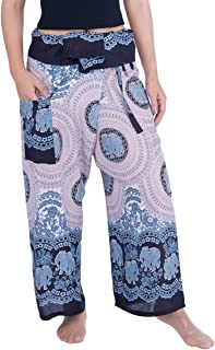 Lannaclothesdesign Women's Thai Fisherman Pants Yoga Trousers Wide Legs Pants
