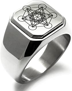 Stainless Steel Metatron's Cube Symbol Square Flat Top Biker Style Polished Ring