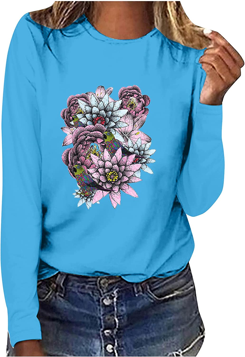 Women Long-Sleeve Floral Print Blouse Tops Casual Loose O Neck Fit Shirts Comfy Sweatshirt Tops