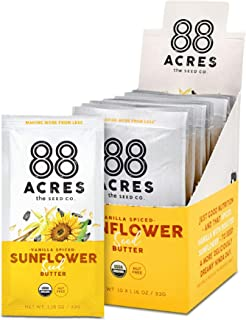 88 Acres, Organic Vanilla Spiced Sunflower Seed Butter, Single-Serve Squeezable Pouch, Nut-Free, Non-GMO, Dairy-Free, 20 Pouches (1.16 Oz)