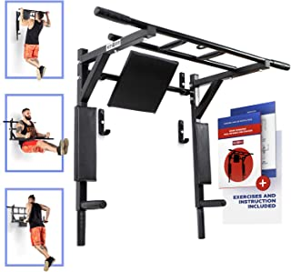 Wall Mounted Pull Up Barand Dip Station Indoor Home Exercise Equipment for Men Woman and Kids Great for Workout and Fitness