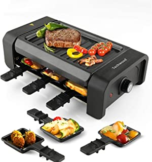 Techwood Raclette Grill Electric Tabletop Raclette Grill Raclette Party Grill 900W Adjustable Temperature Knob Non-Stick Grilling Surface Compact & Easy Clean