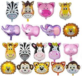SIMUER Globos Animales 18 Piezas Globo de Aluminio Animal Cumpleaños Globos, Globos Inflables Jungle Animal Balloon Foil Globo Decoración de la Fiesta de Cumpleaños de los Niños