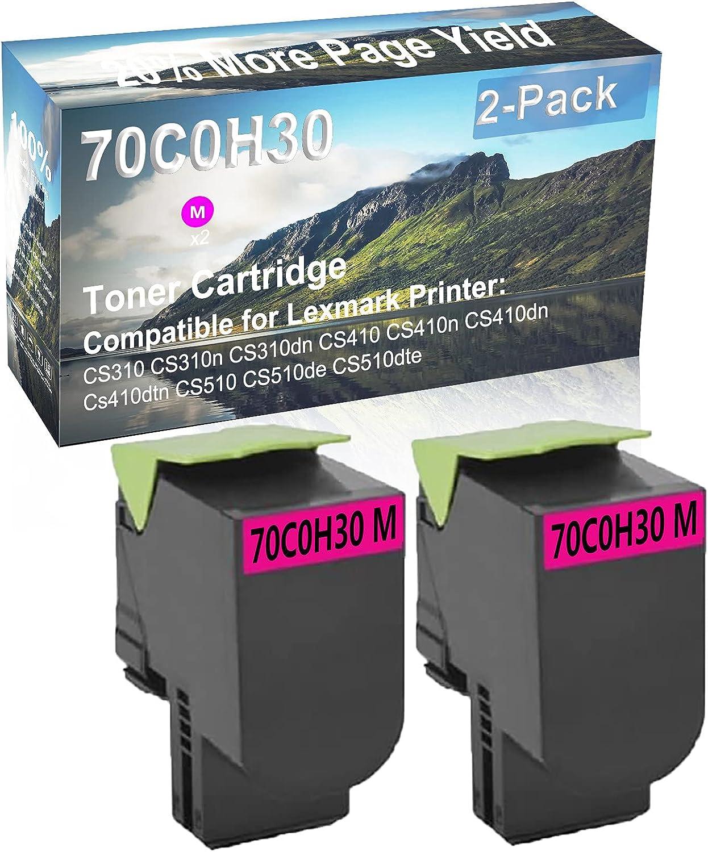 2-Pack (Magenta) Compatible CS410 CS410n CS410dn Cs410dtn Printer Toner Cartridge High Capacity Replacement for Lexmark 70C0H30 Toner Cartridge
