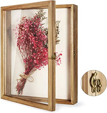 """TJ.MOREE Shadow Box Display Case 13"""" x 16"""" Flowers Shadow Box Frame with Glass Window Picture Frame Wedding Bouquet Memorabil"""
