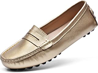Women's Penny Loafers Leather Driving Moccasins Comfort Boat Shoes