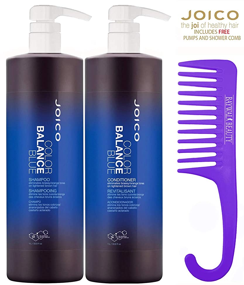 Joico Color Balance Blue Shampoo & Conditioner, 1 Liter/33.8 oz With FREE Pumps & Shower Comb