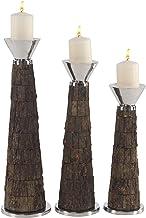 Deco 79 Candleholders, Deco 79, Dark Brown, Silver, Medium