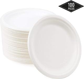 100 Pequeños Platos Desechables de Papel de Caña de Azúcar, Platos de Postre 18cm| Rígido y Resistente - Biodegradable y Ecológico| Impermeable y Apto para Microondas| Alternativa de Plástico Natural