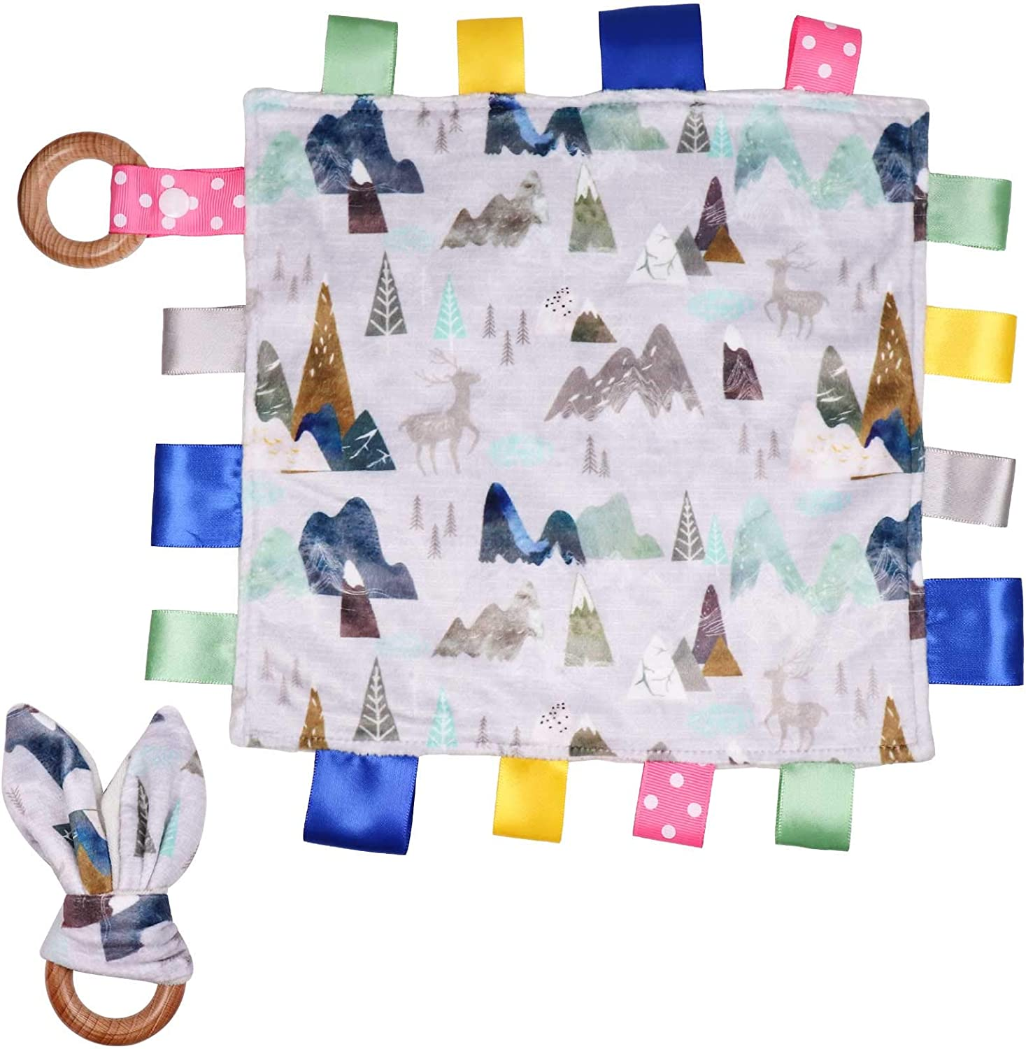 Toddlers Taggy Blanket Comforter Towel Grey Mountain Mini Sensory Minky Security Blanket Bunny Ear Teething Ring Lovey for Babies Newborn 0-36 Months/… Adventure Baby Taggies Blanket for Boys Girls
