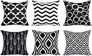 Top Finel 100% Durable Canvas Square Decorative Throw Pillows Cushion Covers Pillowcases for Sofa,Set of 6,18×18 Inch-Black