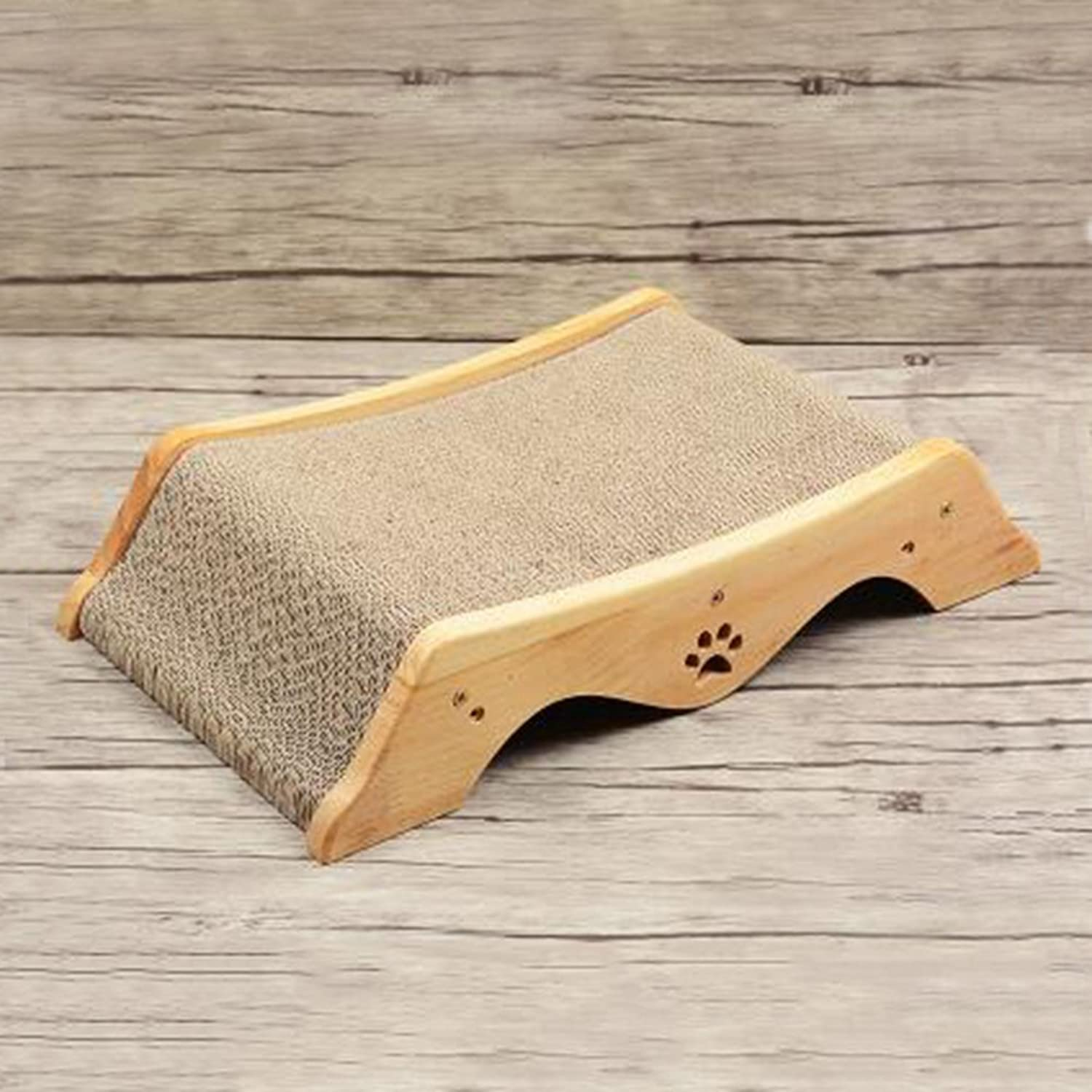 ORPERSIST Cat Scratch Board Solid Wood Corrugated Paper Trapezoidal Cat Bed Pet Sofa Cat Toys