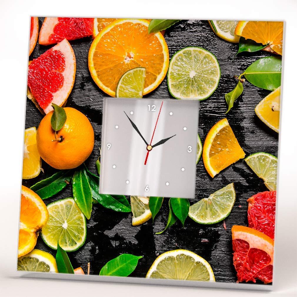 Sliced Citrus Fruits Black Year-end gift Wood Wall Mirror Printed Clock Regular dealer Framed
