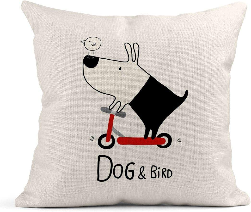 Kinhevao Throw Pillow Red Cute Dog and Bird Riding Scooter Jugar Niños Cachorro Animales Bicicleta Lino Cojín Hogar Decorativo Almohada