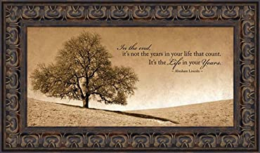 Home Cabin Décor Life in Your Years by John Jones 12x20 Sepia Tree Landscape Photograph Abraham Lincoln Quote Inspirational Framed Art Print Picture