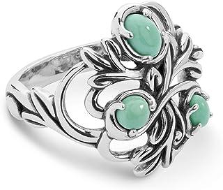 Carolyn Pollack Sterling Silver Gemstone Leaf Ring Size 05 to 10 - Choice of Gemstone