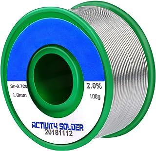 Fixget Drut lutowniczy bezołowiowy, rolka cyny 1 mm z rdzeniem kalafoniowym Sn97,3% kalafonia 2% Cu0,7% do lutowania elekt...