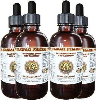 California Poppy and Valerian Liquid Extract, Organic California Poppy (Eschscholzia Californica) and Valerian (Valeriana Officinalis) Tincture 4x4 oz