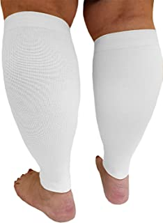 Compression Calf Sleeves XX Wide - Soothing Gradient Support,  Comfortable Cuffs. white