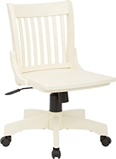Office Star Deluxe Armless Wood Bankers Desk Chair with Wood Seat, Antique White