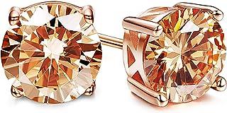 Sllaiss CZ Stud Earrings for Women 925 Sterling Silver 7mm Round Cut Cubic Zirconia Earrings Made with Swarovski Zirconia ...