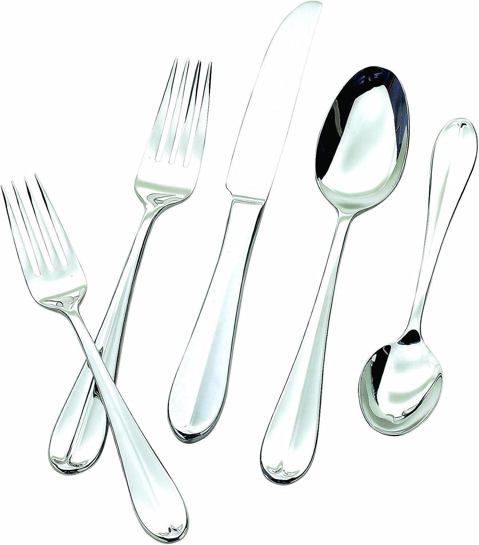 Hampton Forge Silversmiths Lexington Mirror 48-Piece Flatware Set with Steak Knives, 290Z0482ND