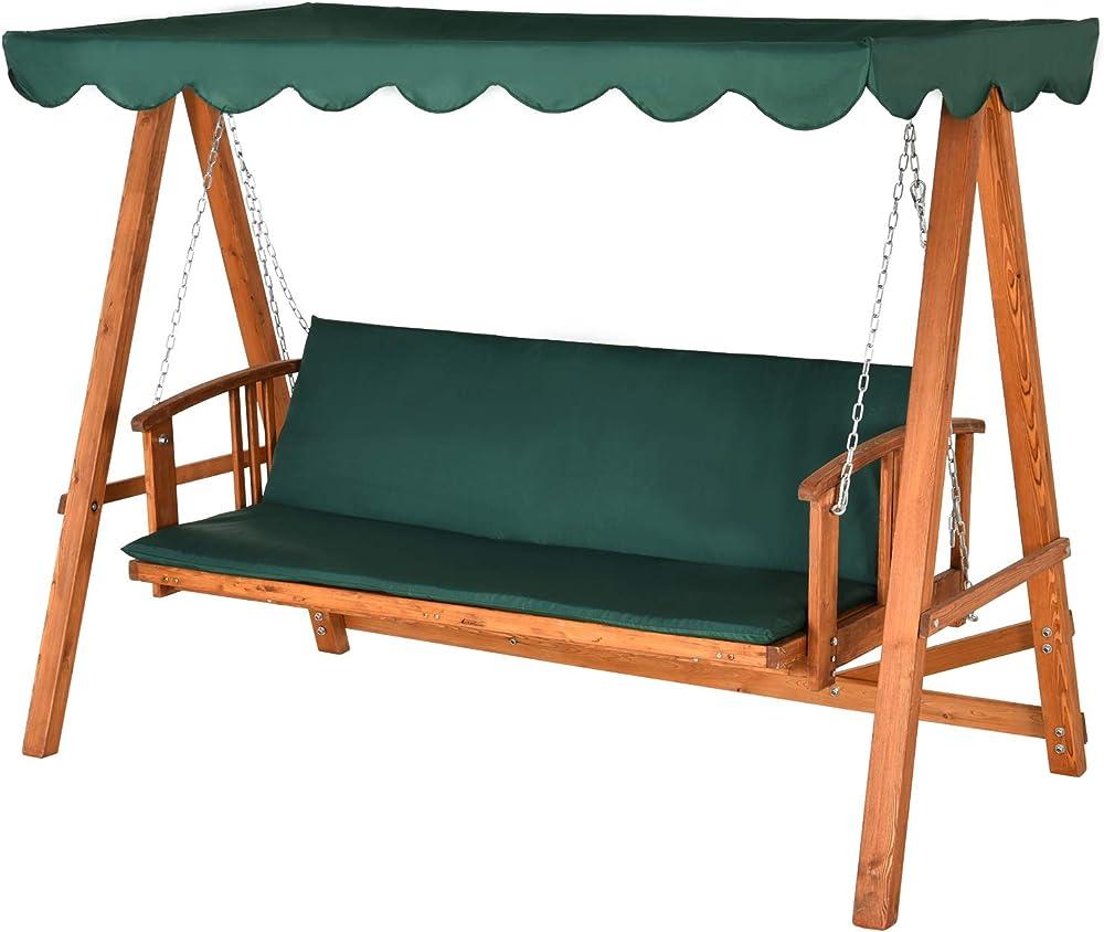 Outsunny sedia a dondolo altalena con tetto apribile per 3-4 persone reclinabile in legno IT01-00780631