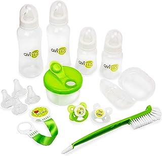 Avima 14 Piece Anti-Colic Newborn Baby Bottle Starter Set. Standard Neck Bottles with Slow and Medium Flow Nipples