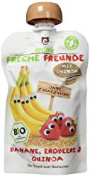 Freche Freunde Bio Quetschie Banane, Erdbeere & Quinoa, Fruchtmus mit Quinoa im Quetschbeutel für Ki