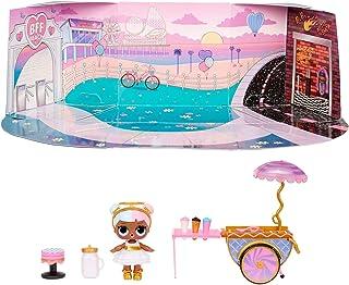 مجموعة لعبة عربة الحلوى مع دمية شوجر تتضمن اكثر من 10 مفاجات واكسسوارات من ال او ال سربرايز
