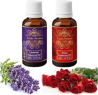 Exotic Aromas Lavender Essential Oil & Rose Oil, Pack of 2