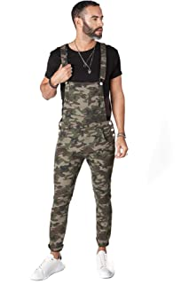 Wash Clothing Company Mens Dungarees Skinny Fit Denim Bib Overalls 3 Colours Camo Green Brown Streetwear, Camouflage, 36W
