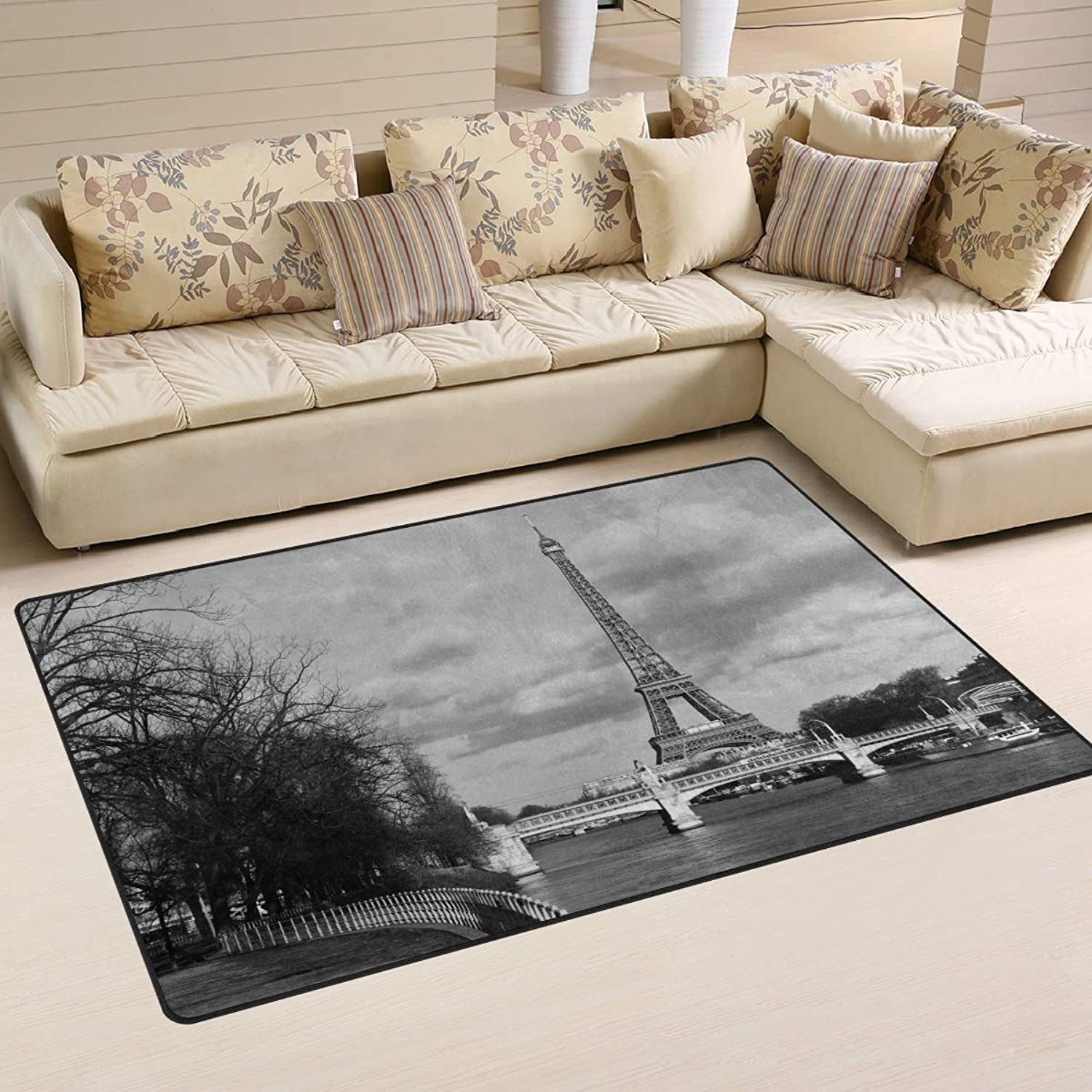 Area Rugs Doormats Black and White Eiffel Tower 5'x3'3 (60x39 Inches) Non-Slip Floor Mat Soft Carpet for Living Dining Bedroom Home