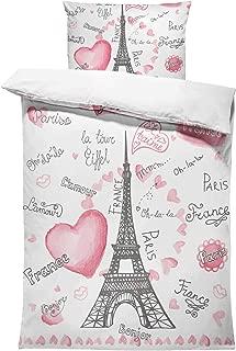 SHINICHISTAR The Eiffel Tower Comforter Sets Twin Size 3 Pieces for Kids Teens Girls Heart France Bedding Set