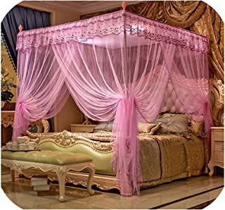 sunshine-xj Princess Mosquito nets Three Open Doors Landing Square Palace top Mosquito nets, Stainless Steel Bracket Curtain Bed Canopy Net,6,1.2x2.0(m) Bed
