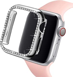 Ayigo Compatible with Apple Watch Case 38mm 40mm, PC Diamond Crystal Bumper with Rhinestone Shiny Protective Cover Frame Compatible iWatch Series 4/3/2/1 for Women (Silver, 38mm)