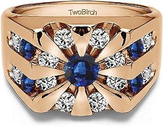 تو بيرش 1 قطعة خاتم رجالي على شكل تشمس بارست من مجموعة دائرية مع الماس (G,I2) والياقوت (مقاس 11) (فضي)