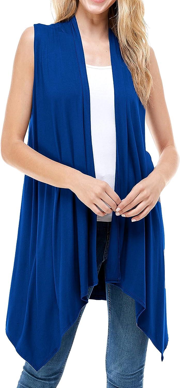 ClothingAve. Women's Simple Asymmetric Hem Hi-Low Sleeveless Cardigan Casual Open Front Stylish Vest