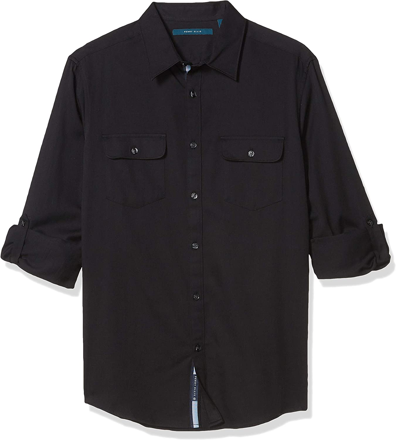 Perry Ellis Men's Long Roll Sleeve Solid Twill Button-Down Shirt