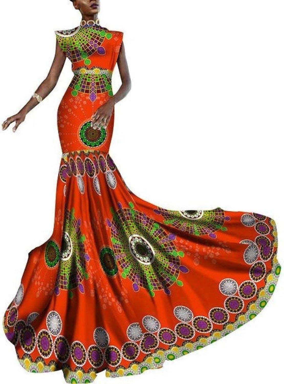 African Women Dashiki Print Clothing Sleeveless Ankara Mermaid Party Long Dress