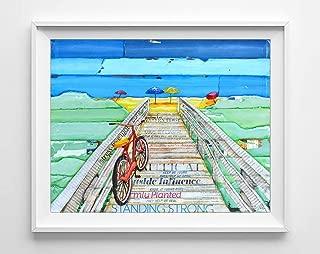 Ride to Tide By Danny Phillips Art Print, Unframed, Beach Bike Boardwalk Wall and Home Decor, Cycling, Summer Vacation Gift, Bike Art, Biking, 8x10 Inches