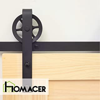 Homacer Sliding Barn Door Hardware Standard Single Door Kit, 6FT Flat Track Black Wheel Design Roller, Black Rustic Heavy Duty Interior Exterior Use